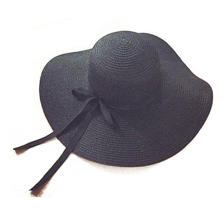 52b5b8855 Women's Beach Hat Big Brim Bow Tie Straw Hat Anti-sun Foldable Black S8z8