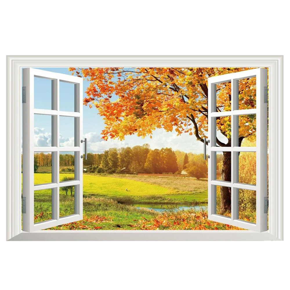 3D Fake Window Wall Stickers Removable Faux Windows Wall Decal ...