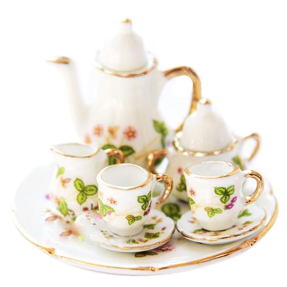 Lot of 15PCS Porcelain Dollhouse Miniature Coffee Tea Cup Set K1P7