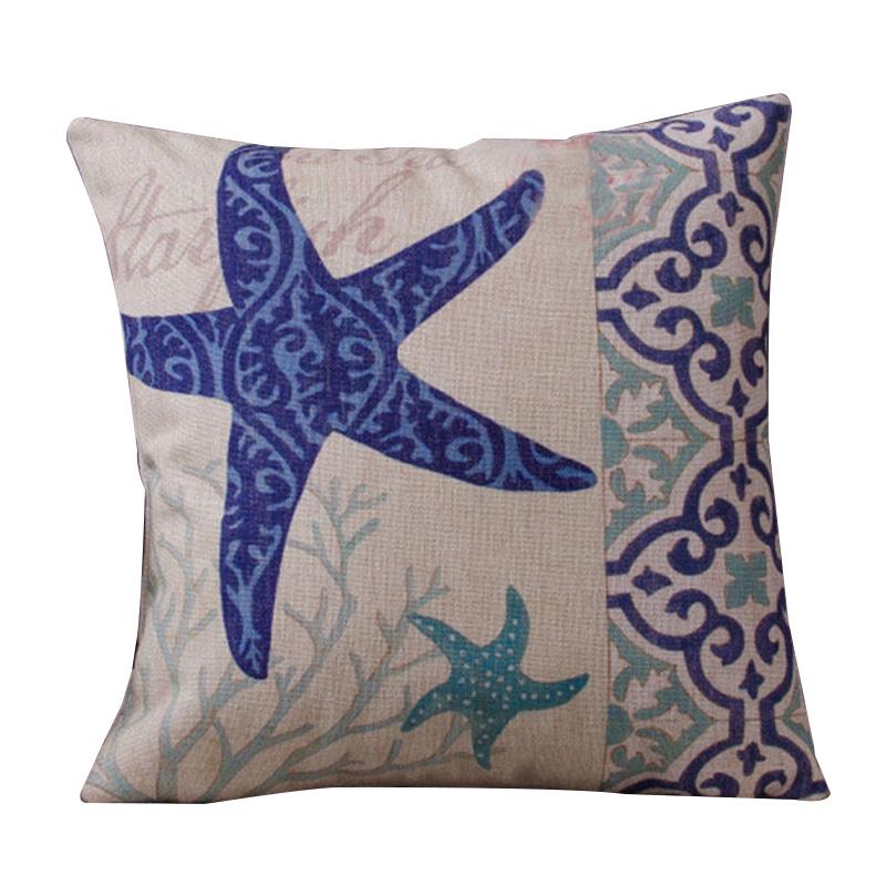 Navy blue Ocean Sea Throw Home Decor Cotton Linen Sofa Pillow Case Cushion  G8I2