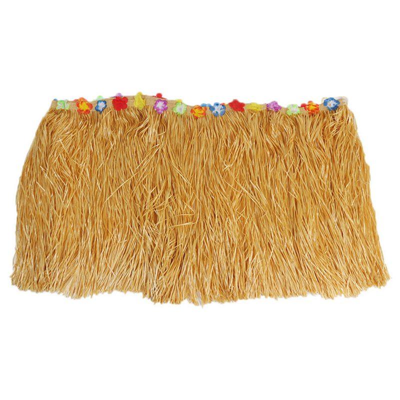 Table-Skirt-Hawaiian-Luau-Flower-Grass-Garden-Wedding-Party-Beach-Decor-Khak-9C8