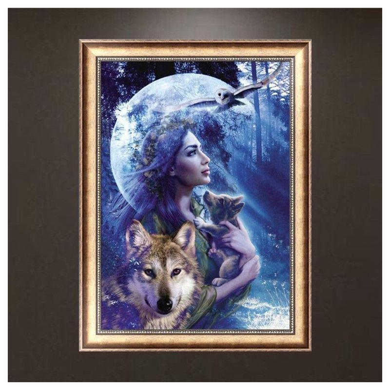 DIY-5D-Rhinestone-Diamond-Embroidery-Wolf-Beauty-Painting-Stitch-Decor-W6J7