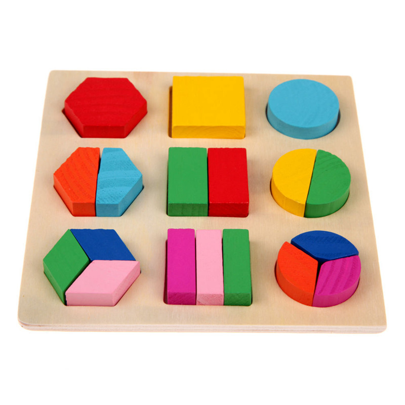 Kids Baby Wooden Geometry Puzzle Early Learning Educational Toy HOT, #3 P5T9