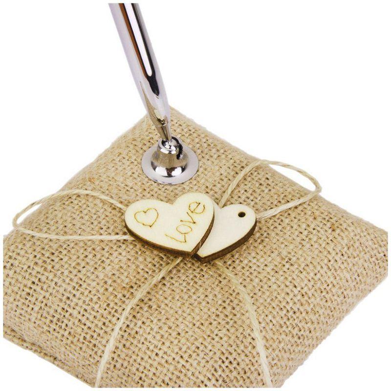 Wood-Metal-Burlap-Hearts-Wedding-Pen-Stand-Set-for-Wedding-Bridal-S3D5