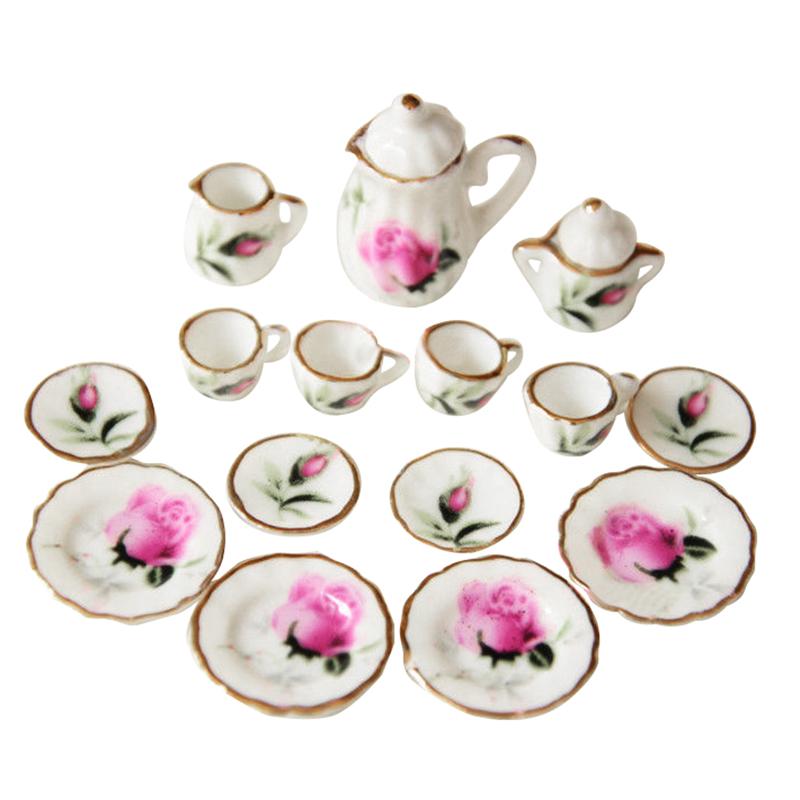 Lot of 15 Purple Flower Porcelain Dollhouse Miniature Coffee Tea Cup Set F4T2