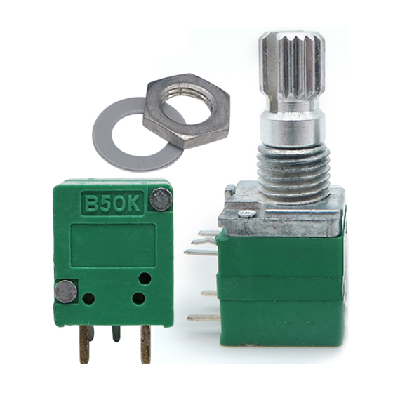 2X-5-pcs-silver-green-R097-type-single-B50K-with-switch-axis-length-15mm-v-L2R6