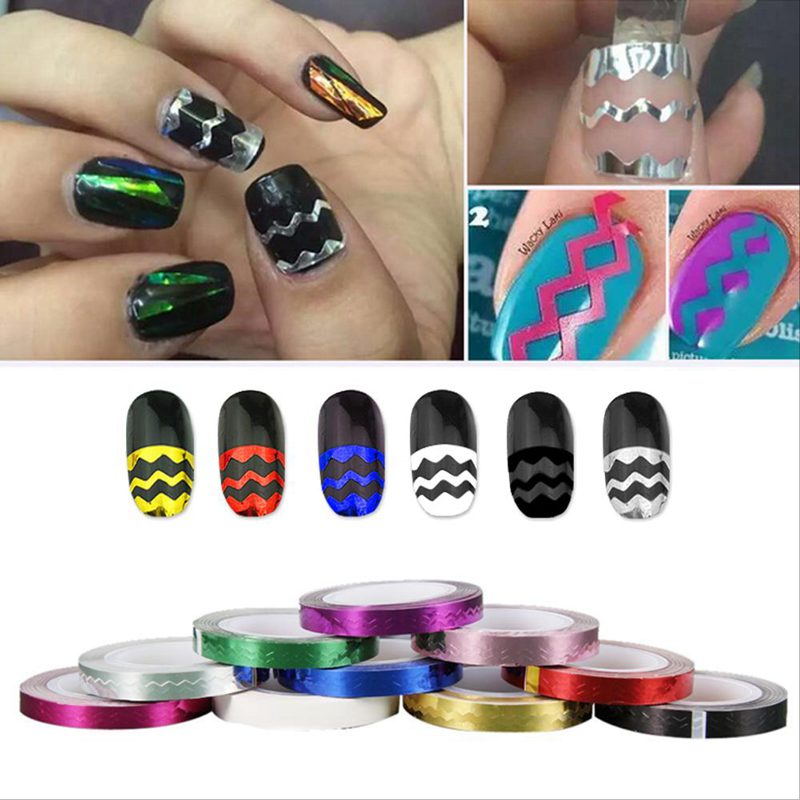 10 Pcsroll Nail Art Waves Striping Tape Line Diy Tips Decals