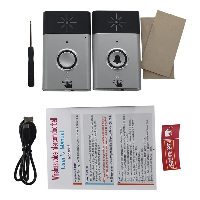 Wireless Doorbell With Speaker Voice Intercom 300M Distance silvery W3U4
