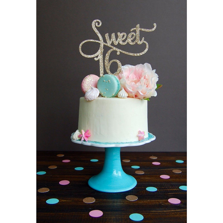 FP Gold Monogram Sweet 16 Cake Topper 16th Birthday Anniversary