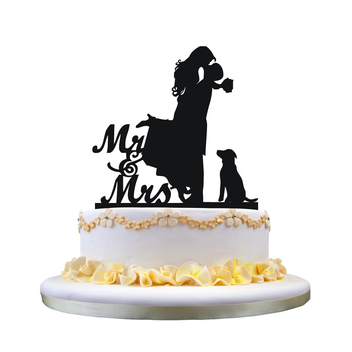 wedding cake toppers with dog uk cake topper with pet mr amp mrs and groom 26632