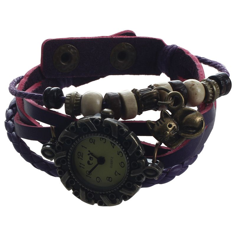 CAY Weaving Coils Quartz Analog Vintage Leather Bracelet Ladies Watch (Cat, PuQ7
