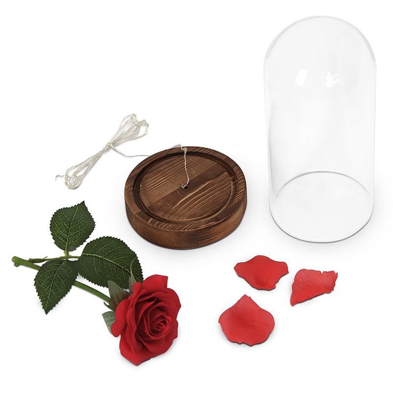 ewige rose blume rot silk rose und led licht mit gefallenen bl tenbl tter im glas j8j2 ebay. Black Bedroom Furniture Sets. Home Design Ideas