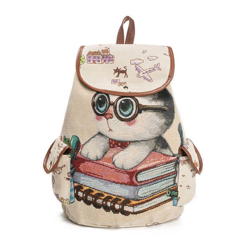 Mochila-de-lona-para-mujer-Bolsillos-Bolsa-para-la-escuela-de-patron-de-gat-Y9E8