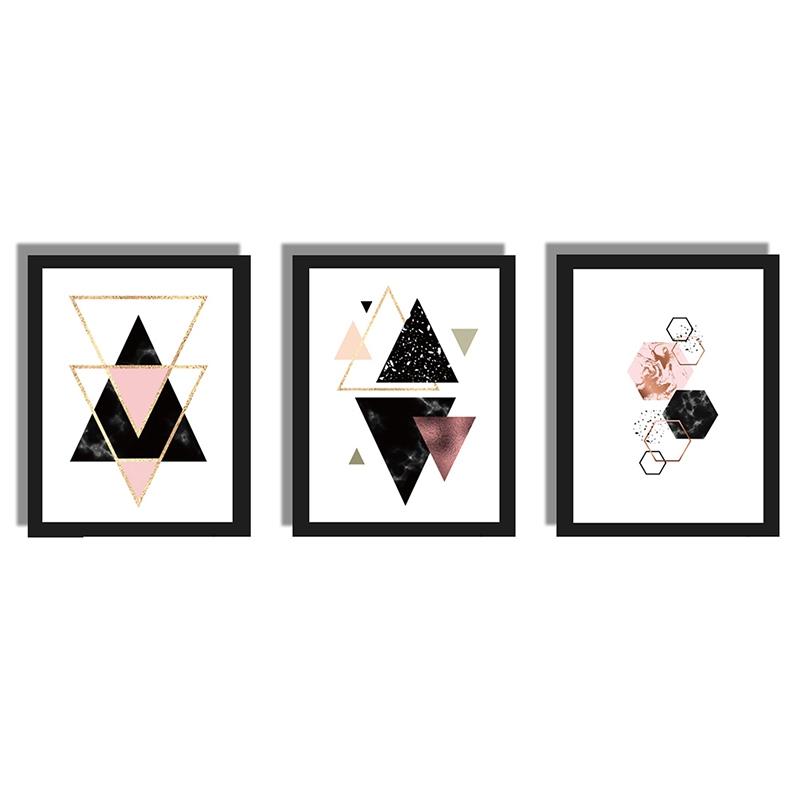 3-piezas-juego-Decoracion-nordica-Pintura-geometrica-de-la-lona-del-arte-G8Z3 miniatura 3