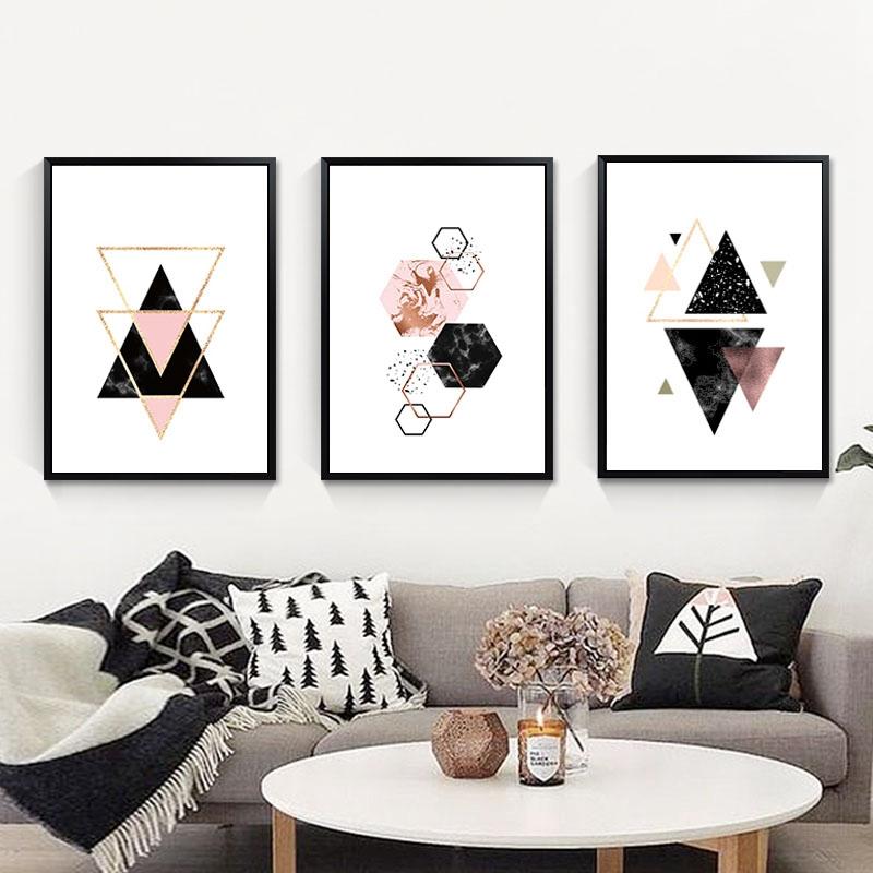 3-piezas-juego-Decoracion-nordica-Pintura-geometrica-de-la-lona-del-arte-G8Z3 miniatura 5