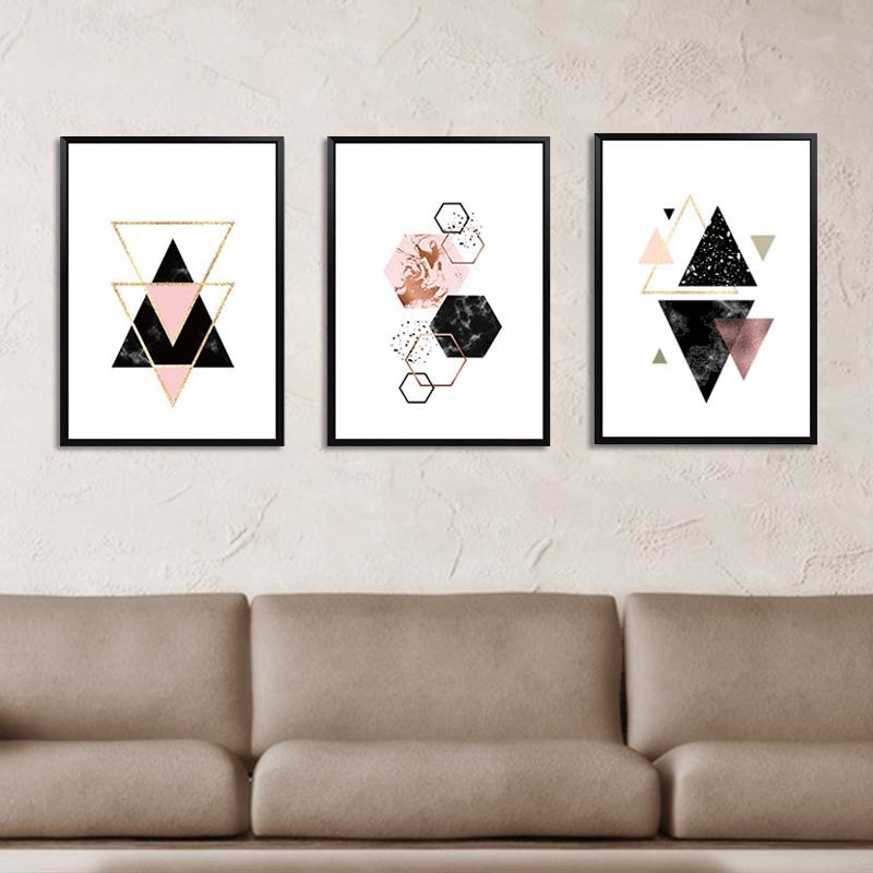 3-piezas-juego-Decoracion-nordica-Pintura-geometrica-de-la-lona-del-arte-G8Z3 miniatura 6