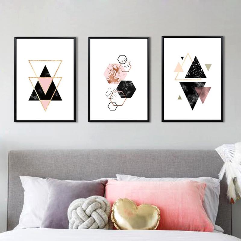 3-piezas-juego-Decoracion-nordica-Pintura-geometrica-de-la-lona-del-arte-G8Z3 miniatura 7