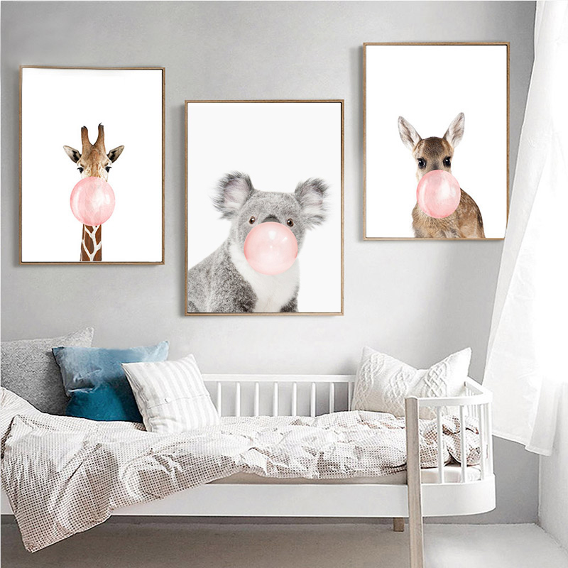 Kawaii-Animal-Coala-Poster-de-impresion-de-arte-Pintura-de-lona-nordica-I7X2 miniatura 10
