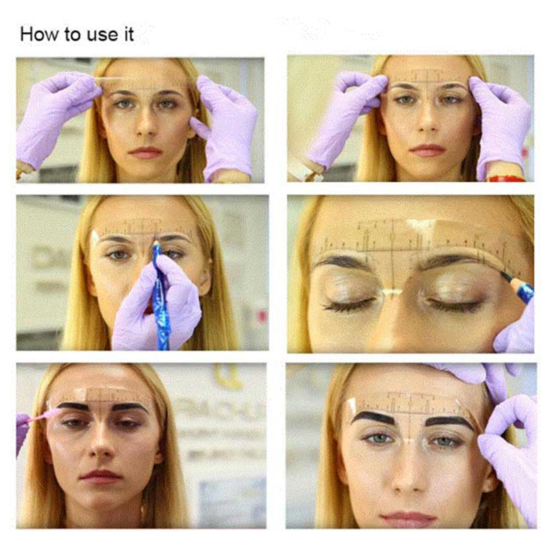 50pcs-Reusable-Semi-Permanent-Eyebrow-Stencil-Makeup-Microblading-Measure-T-Q1K2 thumbnail 6