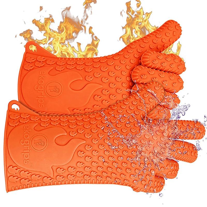 Kitchen-Heat-Resistant-Silicone-Glove-Oven-Pot-Holder-Baking-BBQ-Cooking-Mitt-L3 thumbnail 4