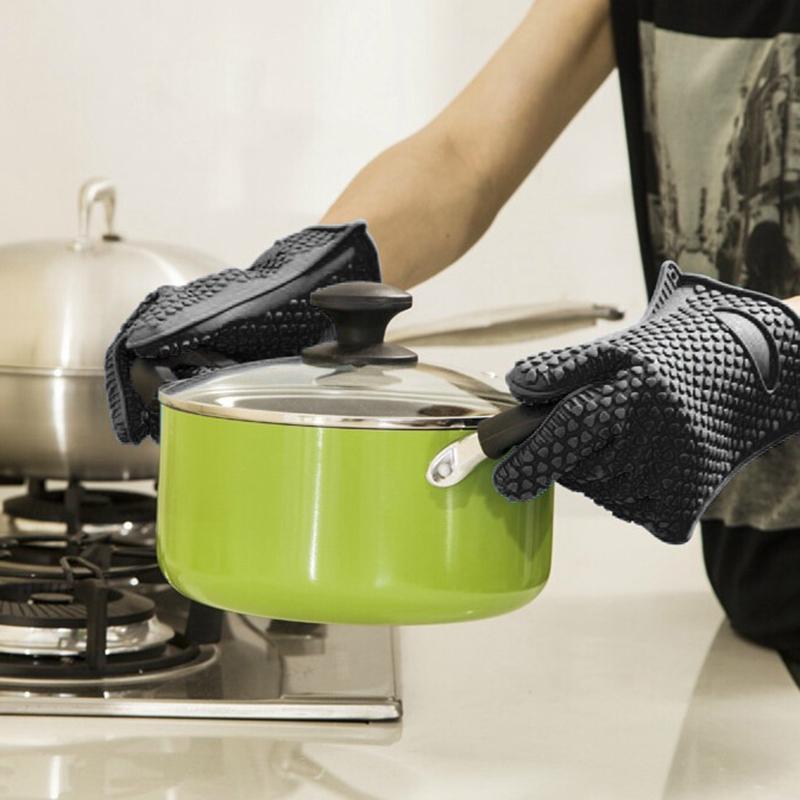 Kitchen-Heat-Resistant-Silicone-Glove-Oven-Pot-Holder-Baking-BBQ-Cooking-Mitt-L3 thumbnail 12