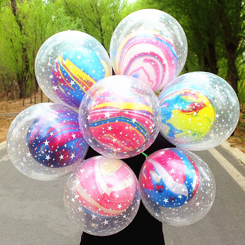 Details about 10pcs New Double layer stars Agate Balloon Wedding Ballon  Happy Birthday Ba Z4G1