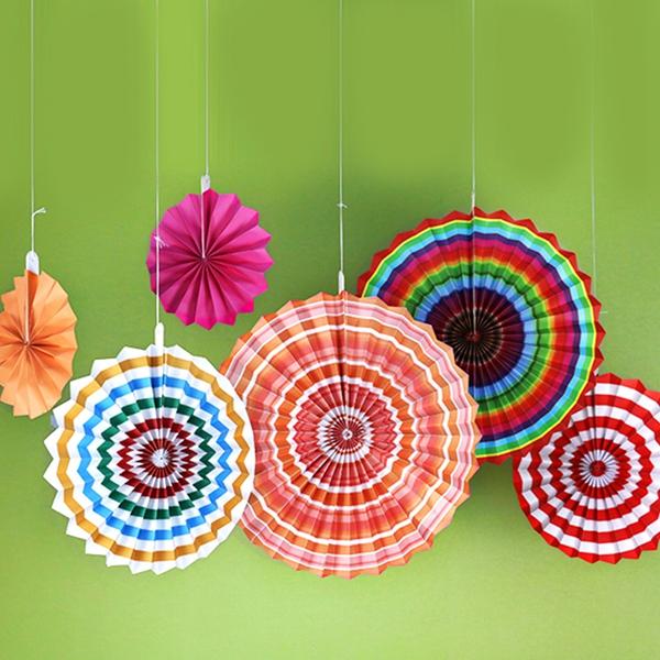 6-piezas-set-ventilador-de-papel-flor-Europea-estilo-fiesta-decoracion-T1K7 miniatura 5