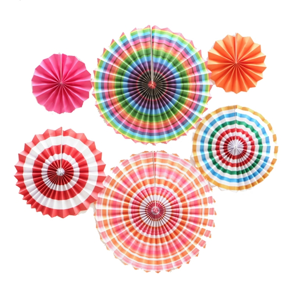 6-piezas-set-ventilador-de-papel-flor-Europea-estilo-fiesta-decoracion-T1K7 miniatura 7