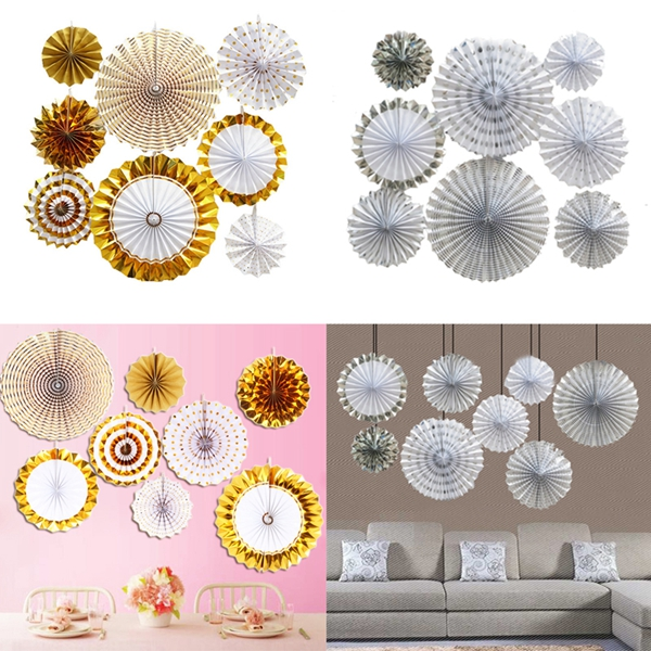 8-piezas-set-ventilador-de-papel-flor-Europea-estilo-fiesta-decoracion-W9F8 miniatura 17