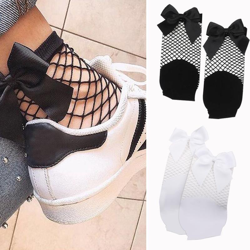 2X-Ete-Femmes-Mode-Noeud-papillon-Chaussettes-resille-Chaussette-a-mailles-X9C1 miniature 10