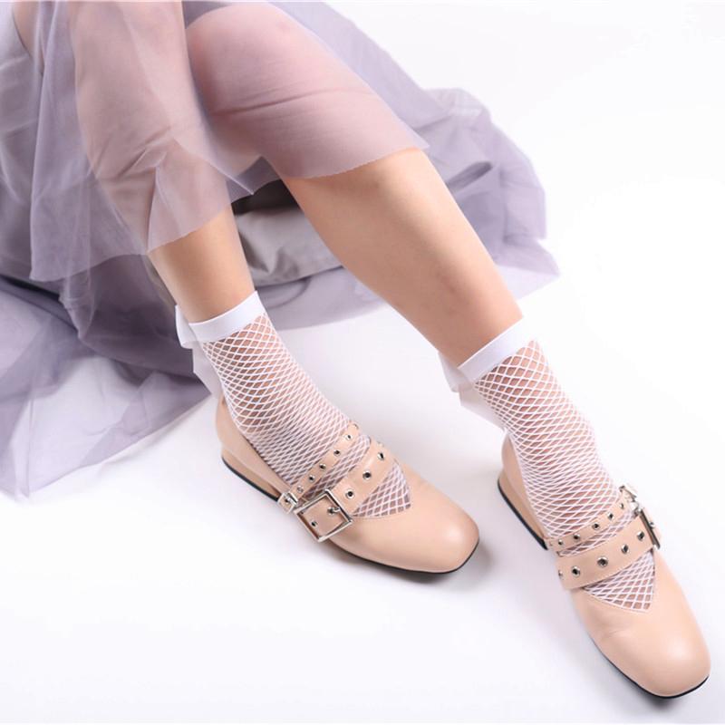 2X-Ete-Femmes-Mode-Noeud-papillon-Chaussettes-resille-Chaussette-a-mailles-X9C1 miniature 12