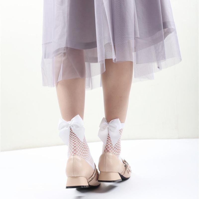 2X-Ete-Femmes-Mode-Noeud-papillon-Chaussettes-resille-Chaussette-a-mailles-X9C1 miniature 15