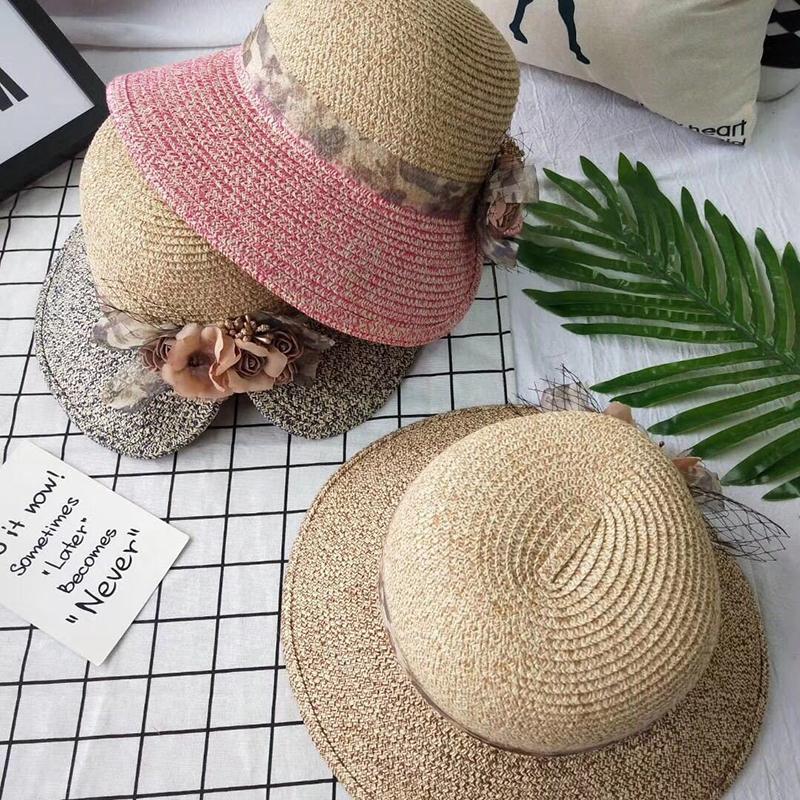 Flowers-Summer-Hats-for-Women-Fashion-Design-Women-Hit-color-Beach-Sun-Hat-I3I2 thumbnail 7
