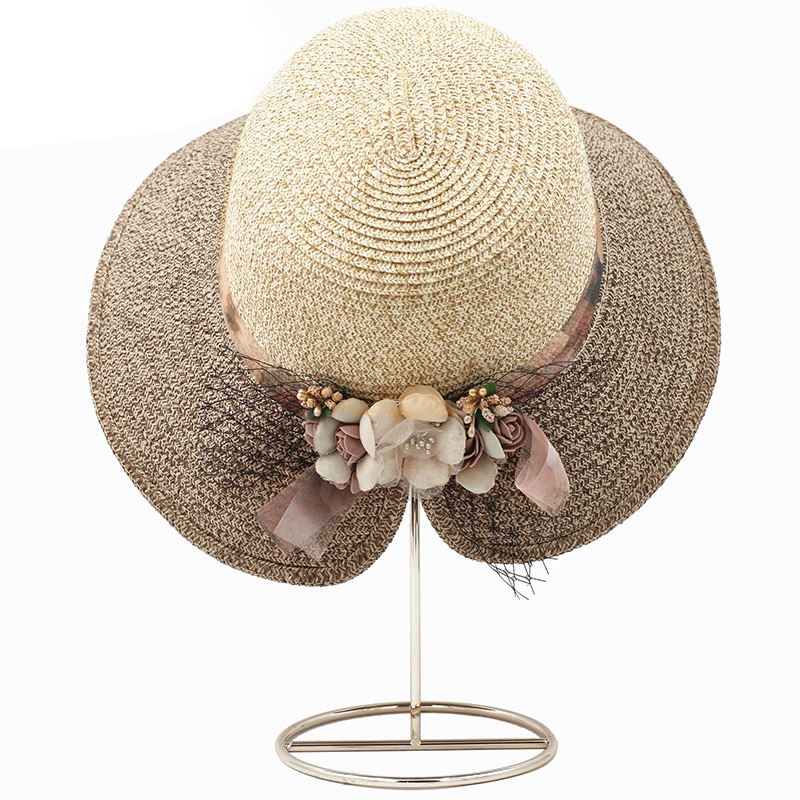 Flowers-Summer-Hats-for-Women-Fashion-Design-Women-Hit-color-Beach-Sun-Hat-I3I2 thumbnail 16
