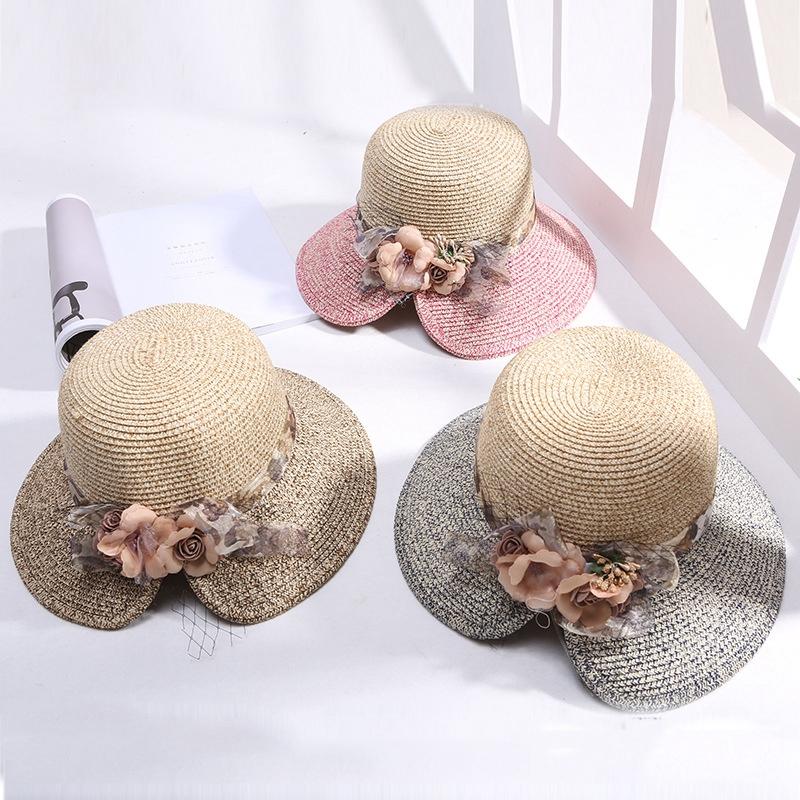 Flowers-Summer-Hats-for-Women-Fashion-Design-Women-Hit-color-Beach-Sun-Hat-I3I2 thumbnail 17