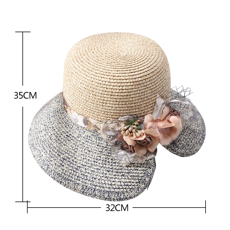 Flowers-Summer-Hats-for-Women-Fashion-Design-Women-Hit-color-Beach-Sun-Hat-I3I2 thumbnail 26
