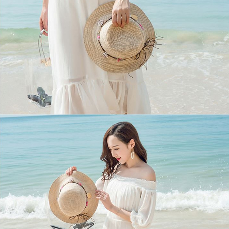 shell-Summer-Hats-for-Women-Fashion-Design-Women-Beach-Sun-Hat-Foldable-Bri-I4G5 thumbnail 5