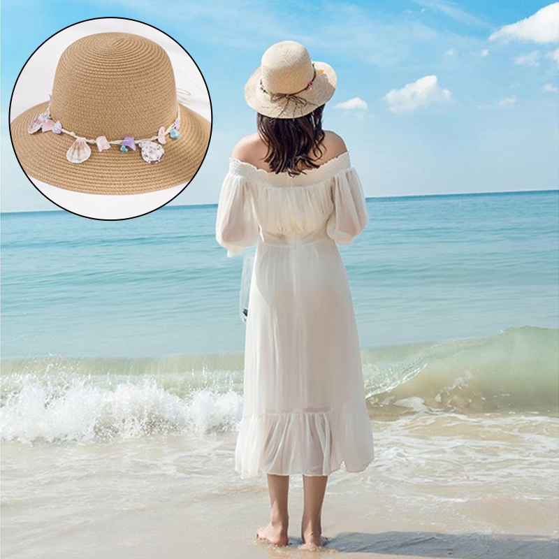 shell-Summer-Hats-for-Women-Fashion-Design-Women-Beach-Sun-Hat-Foldable-Bri-I4G5 thumbnail 14