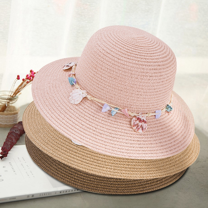 shell-Summer-Hats-for-Women-Fashion-Design-Women-Beach-Sun-Hat-Foldable-Bri-I4G5 thumbnail 17