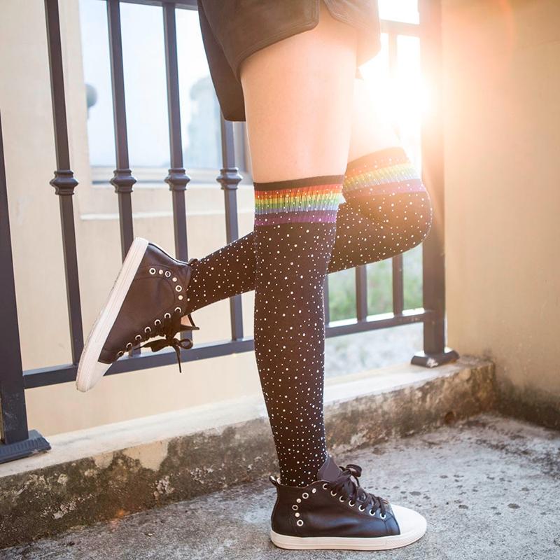 Chaussettes-au-genou-a-la-mode-pour-femmes-Bas-rayes-avec-des-strass-Chausset-H3 miniature 22