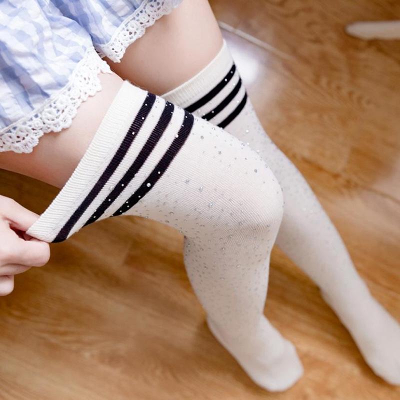 Chaussettes-au-genou-a-la-mode-pour-femmes-Bas-rayes-avec-des-strass-Chausset-H3 miniature 37