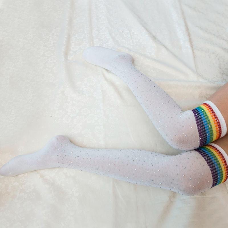 Chaussettes-au-genou-a-la-mode-pour-femmes-Bas-rayes-avec-des-strass-Chausset-H3 miniature 56