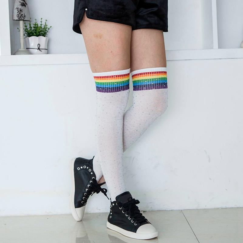 Chaussettes-au-genou-a-la-mode-pour-femmes-Bas-rayes-avec-des-strass-Chausset-H3 miniature 57