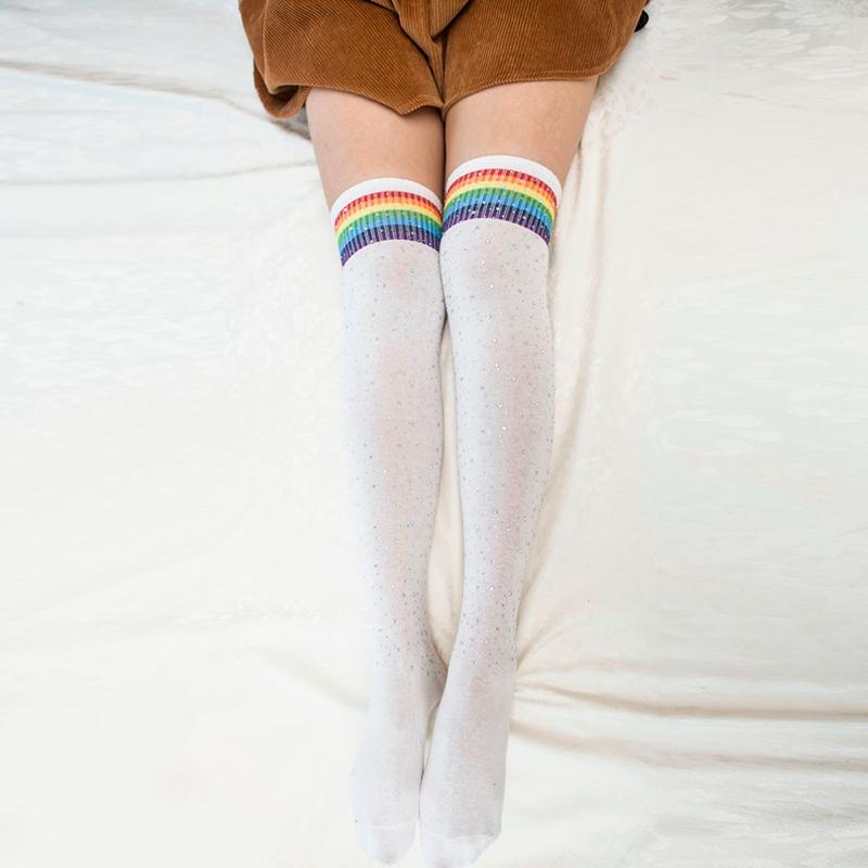 Chaussettes-au-genou-a-la-mode-pour-femmes-Bas-rayes-avec-des-strass-Chausset-H3 miniature 58