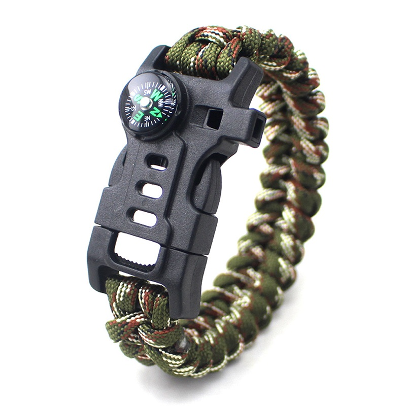 thumbnail 3 - 5 in 1 Multifunctional Outdoor compass Survival Weaving Bracelet,Umbrella R H2Z1