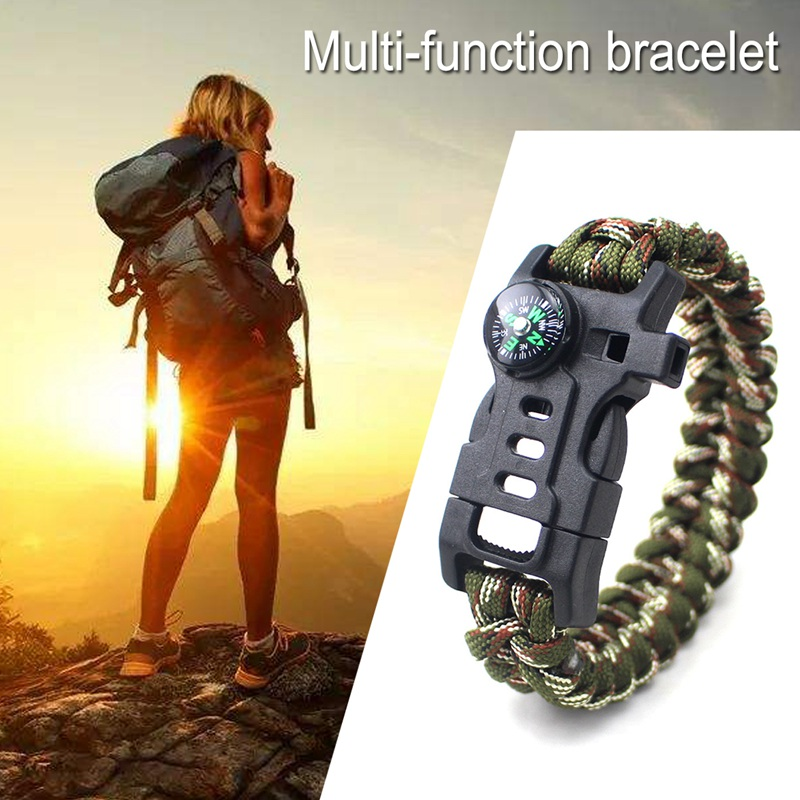 thumbnail 4 - 5 in 1 Multifunctional Outdoor compass Survival Weaving Bracelet,Umbrella R H2Z1
