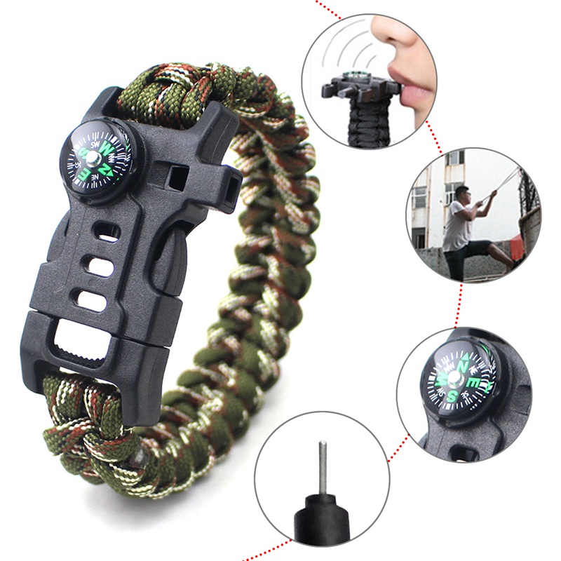thumbnail 6 - 5 in 1 Multifunctional Outdoor compass Survival Weaving Bracelet,Umbrella R H2Z1