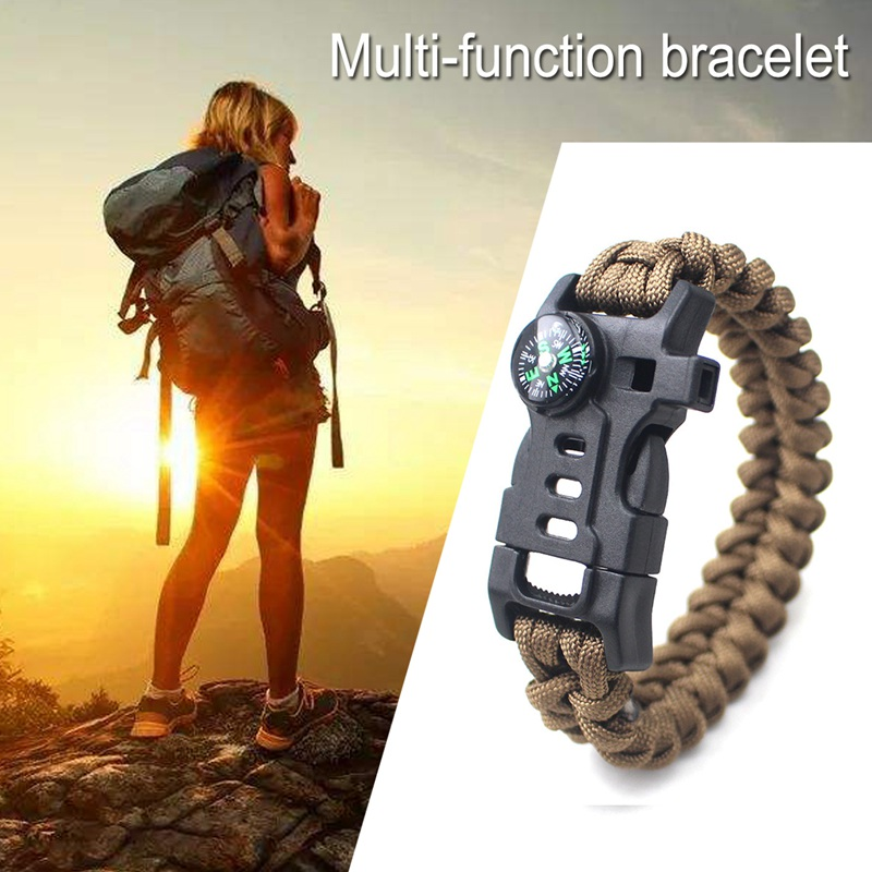 thumbnail 12 - 5 in 1 Multifunctional Outdoor compass Survival Weaving Bracelet,Umbrella R H2Z1