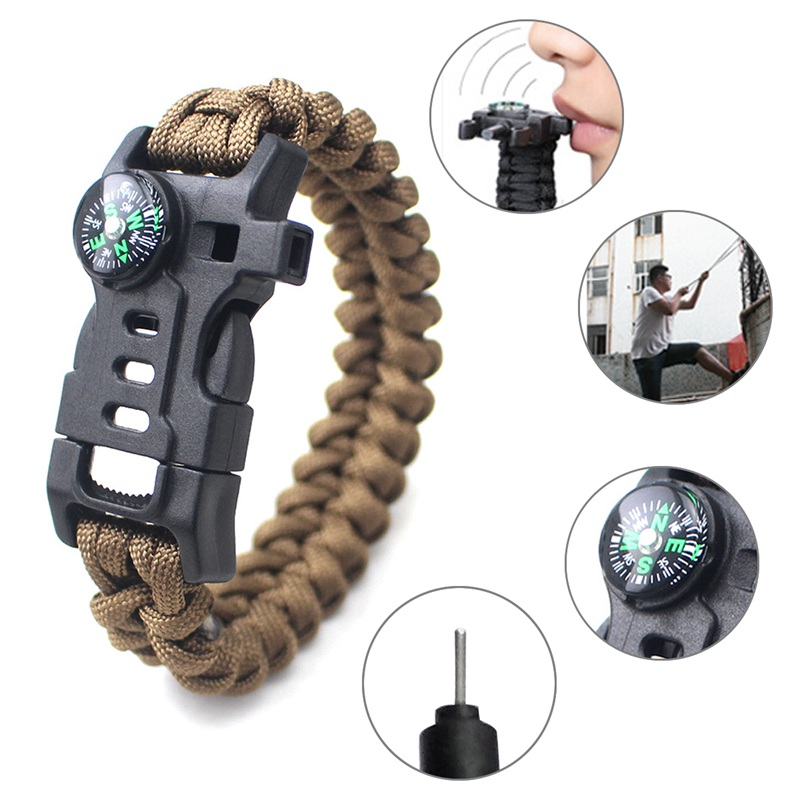 thumbnail 14 - 5 in 1 Multifunctional Outdoor compass Survival Weaving Bracelet,Umbrella R H2Z1