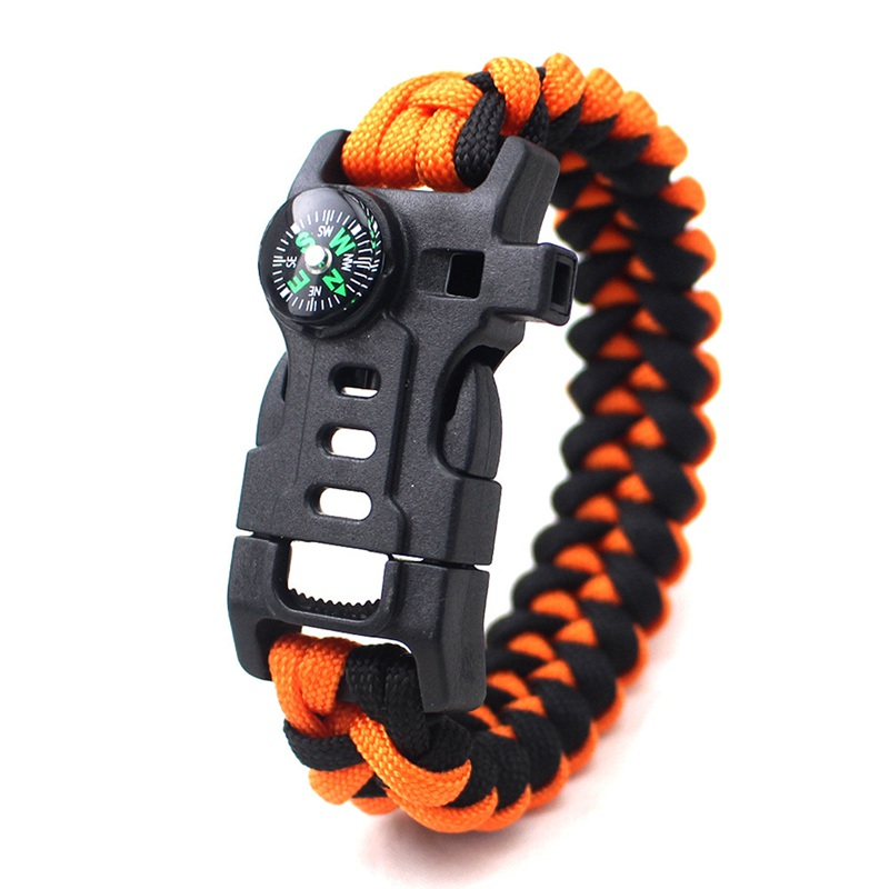thumbnail 3 - 5 in 1 Multifunctional Outdoor compass Survival Weaving Bracelet,Umbrella R Q2S7